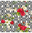 Vintage Rose and Lily Flowers Stripes Background vector image
