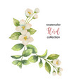 watercolor wreath of flowers and branches vector image vector image