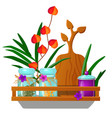 wooden wall-mounted kitchen shelf with glass jars vector image vector image