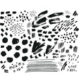Collection of black ink brush points spatters vector image