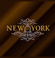 vintage gold hipster label with lettering new york vector image