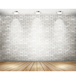 White brick room with spotlights vector image