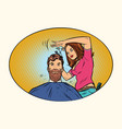 woman hairdresser cuts the bearded hipster vector image