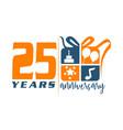 25 year gift box ribbon anniversary vector image vector image