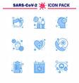 9 blue coronavirus epidemic icon pack suck vector image vector image