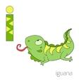 Alphabet letter I iguana children vector image