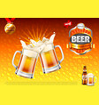 beer ads two toasting frothy mugs on gold vector image vector image
