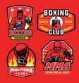 boxing badge set vector image vector image