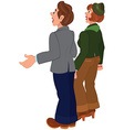 Cartoon couple standing and looking on something vector image vector image