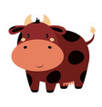 cartoon cute cow isolated on white background vector image