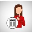 character woman reporter news headline microphone vector image