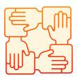 collaboration flat icon hands community orange vector image vector image