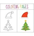 Coloring book page Christmas Santa hats and vector image