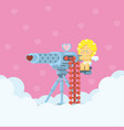 cupid aiming love machine gun vector image
