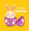 cute cartoon bunny hatched from an egg and smiles vector image