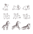 Cute doggies pigs and zebras vector image