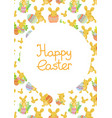 cute easter frame template of bunnies and eggs vector image vector image