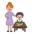 cute little student boy with female teacher in vector image vector image