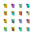 file format icons set cartoon vector image vector image