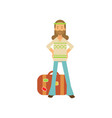 flat cartoon bearded man hippie standing with arms vector image vector image