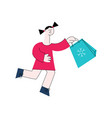 flat girl kid with present gift boxes vector image vector image