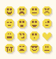 Flat pixel smile icons set with shadow effect vector image
