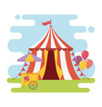 fun fair carnival tent ice cream booth balloons vector image vector image