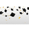 graduate caps and confetti on a transparent vector image vector image