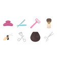 hairdresser and tools icons in set collection for vector image vector image