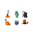 halloween related objects and creatures set vector image