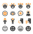 happy icon set vector image vector image