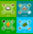 hiking in a park concept banner set 3d isometric vector image vector image