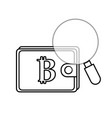 line bitcoin symbon in the wallet with magnifying vector image vector image