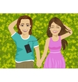 lovers lying on grass listening to music vector image