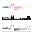 minsk skyline linear style with rainbow vector image vector image