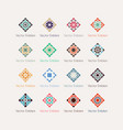 mosaic rhomb emblems set vector image