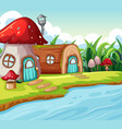 mushroom and wood house vector image vector image