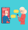 old person messaging smartphone dialog dating of vector image vector image