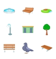 Park icons set cartoon style vector image vector image