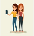 People using smartphone characters vector image