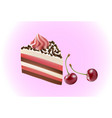 piece of chocolate cake with cream and cherry vector image