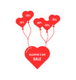 red heart flying on balloon vector image vector image