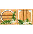 round and square frame on wooden board vector image vector image