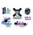 set snowboard logos emblems vector image