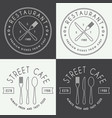 set vintage restaurant linear logo badge and vector image