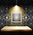 Shelf on luxury wallpaper vector image