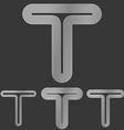 Silver letter t logo design set vector image vector image