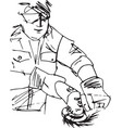 sketch of man with circular saw vector image