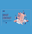 smart contract isometric web banner e-signature vector image vector image
