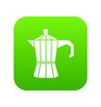steel retro coffee pot icon digital green vector image vector image